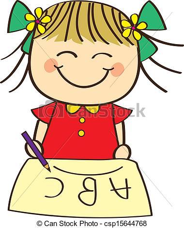 Cute little Girl Learning ABC | Clipart Panda - Free ...