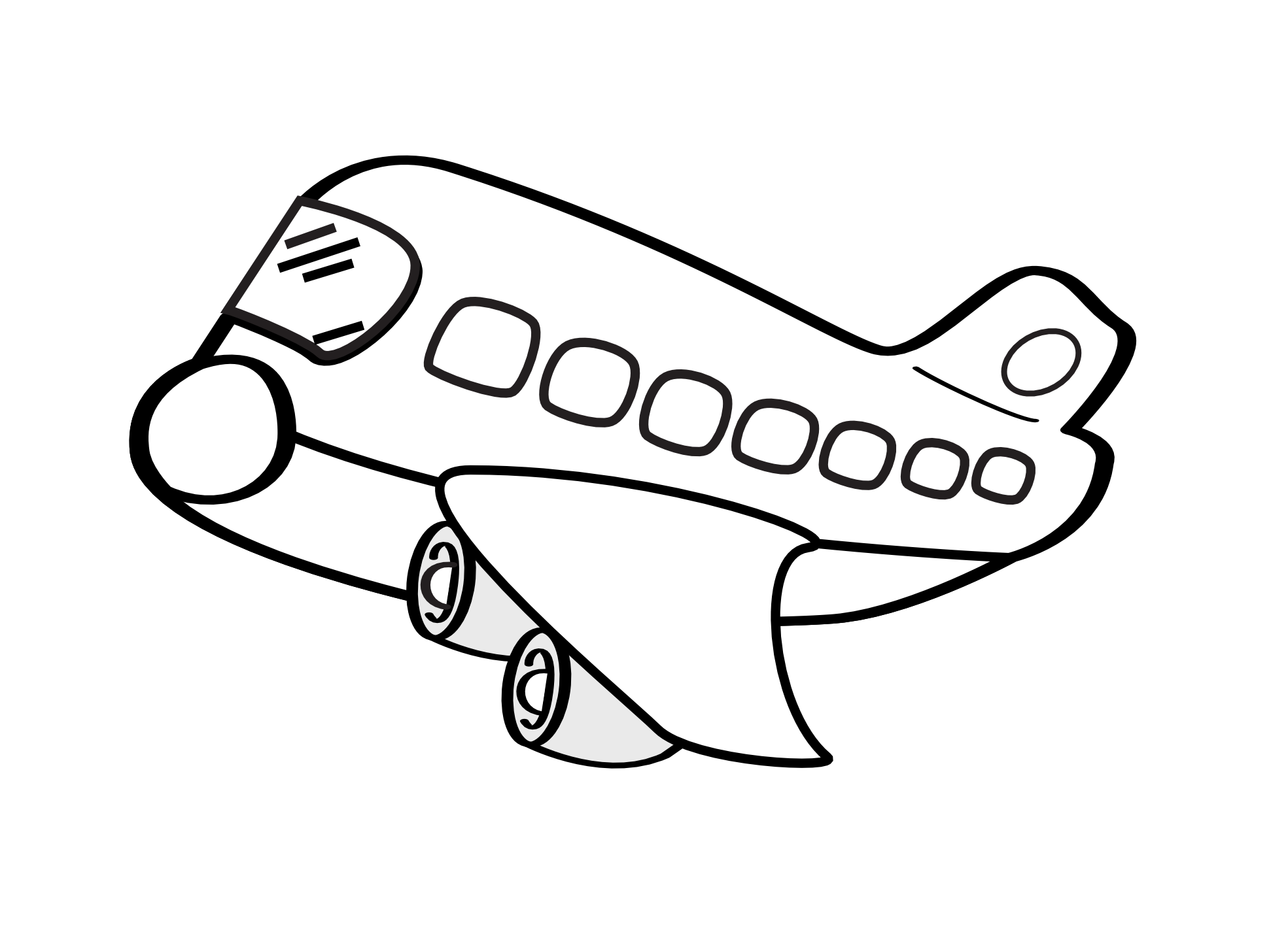 Line Drawing Jet : Black and white airplane with banner clipart