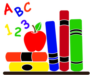 Clipart of books with letters and numbers