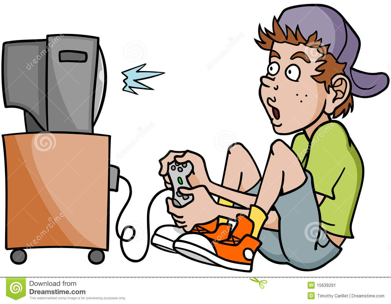 Person Playing Video Games Cartoon