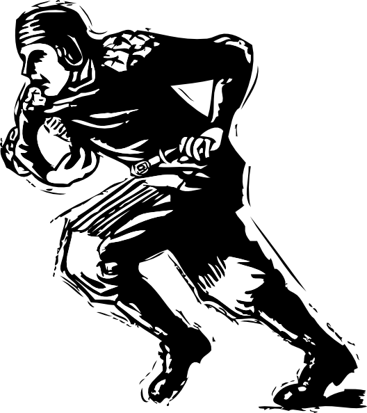 Old Black Rugby Dance: American Football Player Clipart