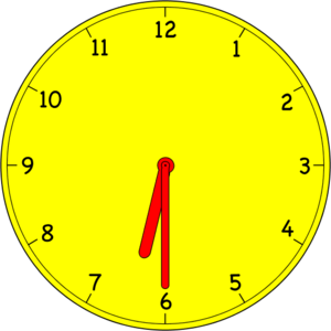 Analog clock clipart: analog clock six thirty 6 30