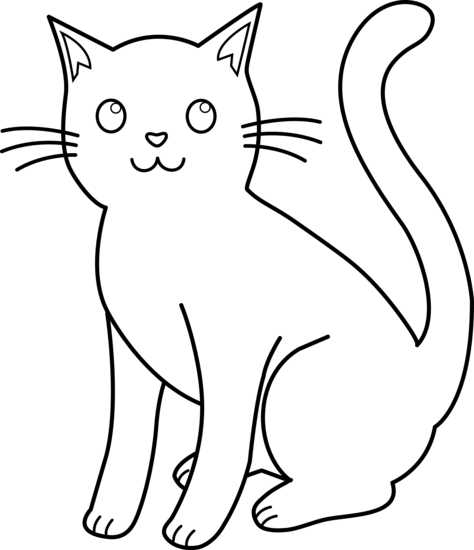 Black Line Drawings Of Animals : Kitty clipart black and white panda free