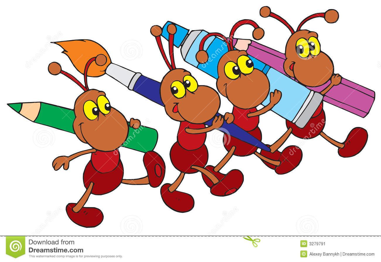 cartoon ants carrying food