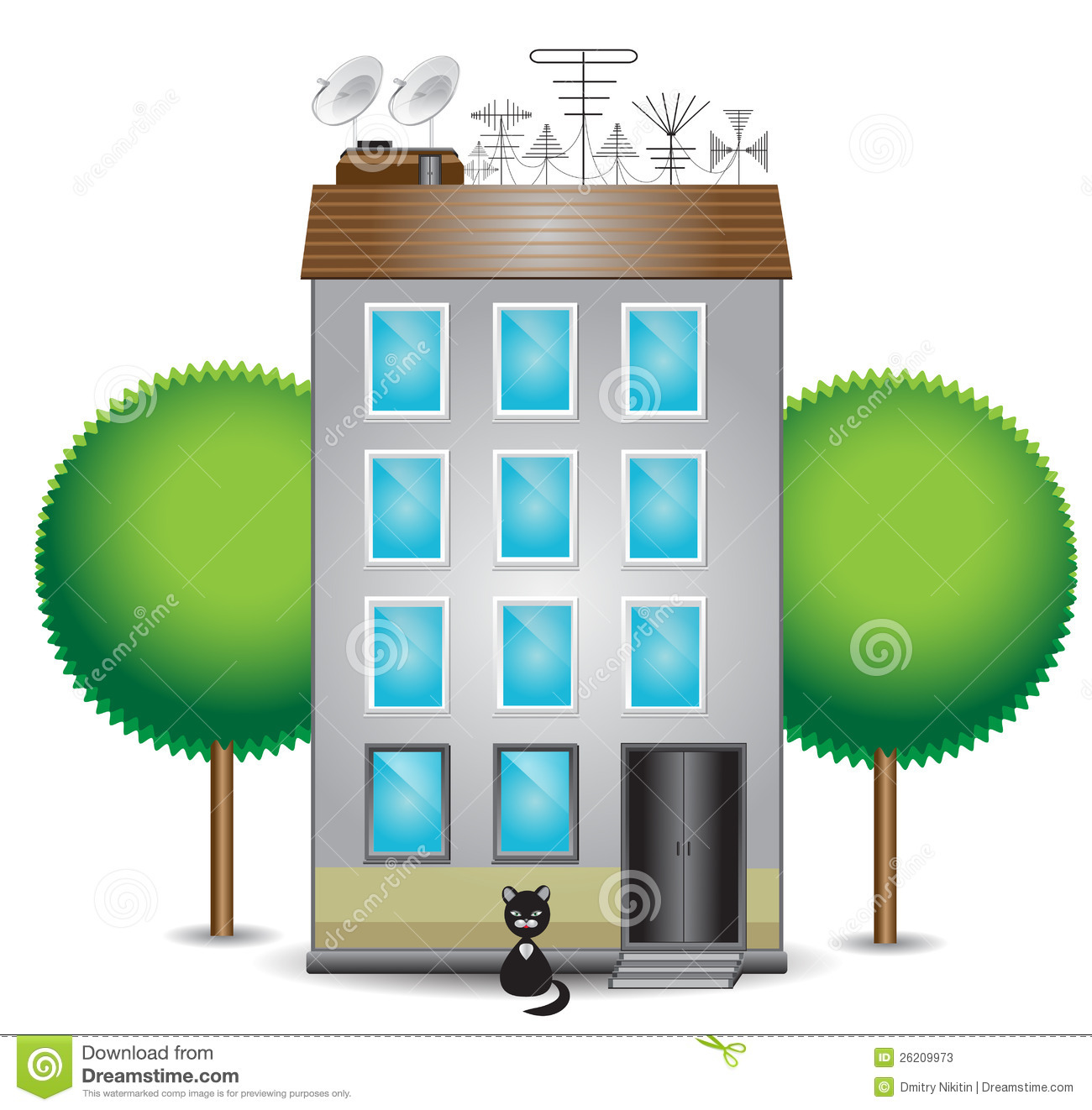 Apartment Finder Websites: Apartment Building Clipart Black And White
