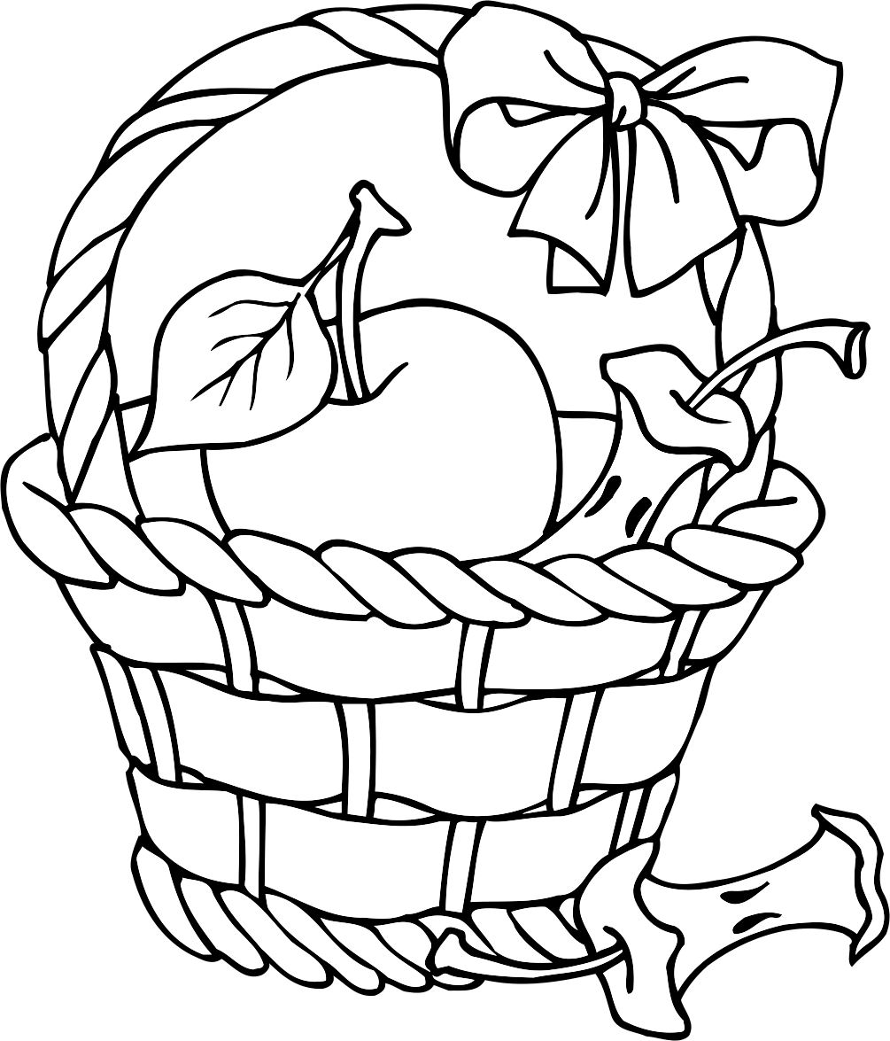Coloring Page Fruit In A Picnic Basket