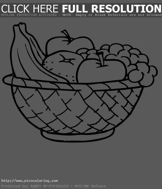 Apple Basket Coloring Page Food Fruit In
