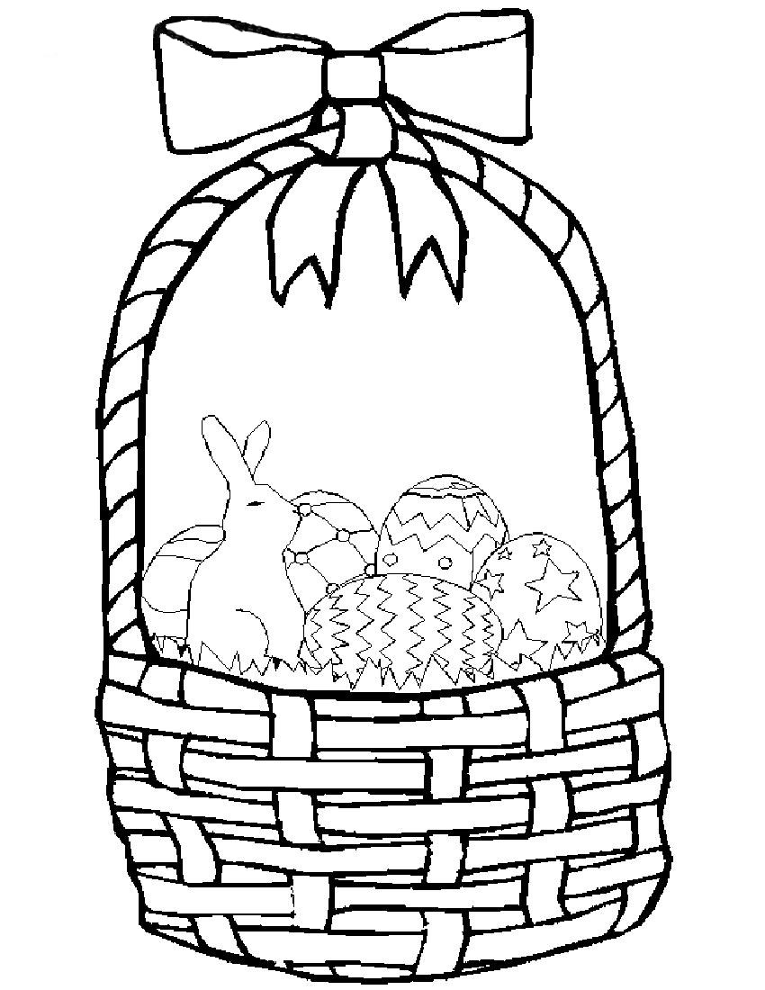 Apple Basket Coloring Page Clipart