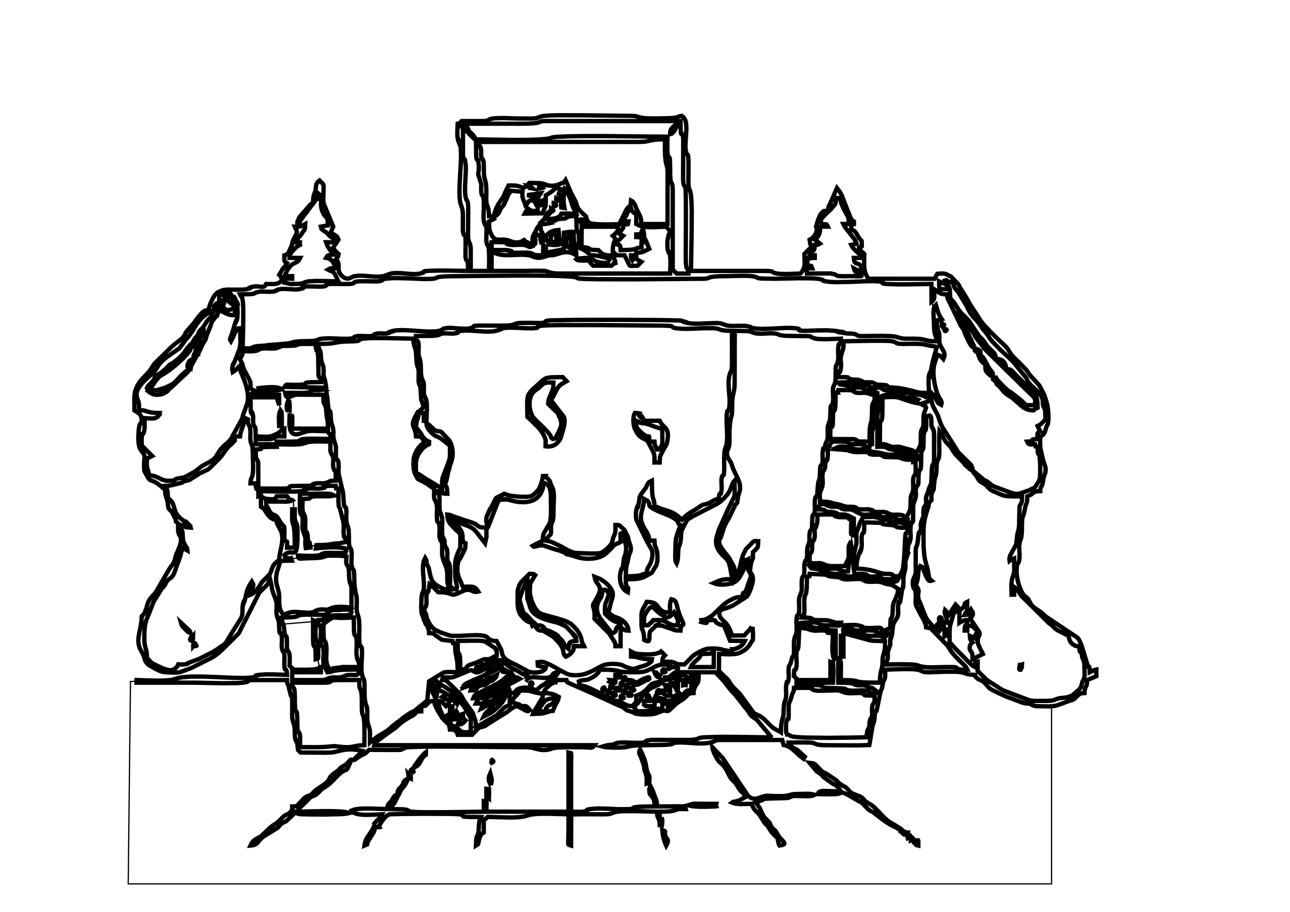 fire clipart border black and white