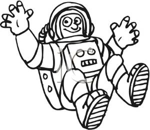 astronaut clip art black and white - photo #1