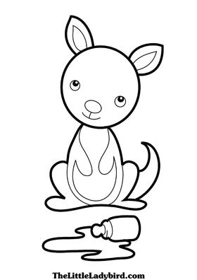 Baby Kangaroo Coloring Pages
