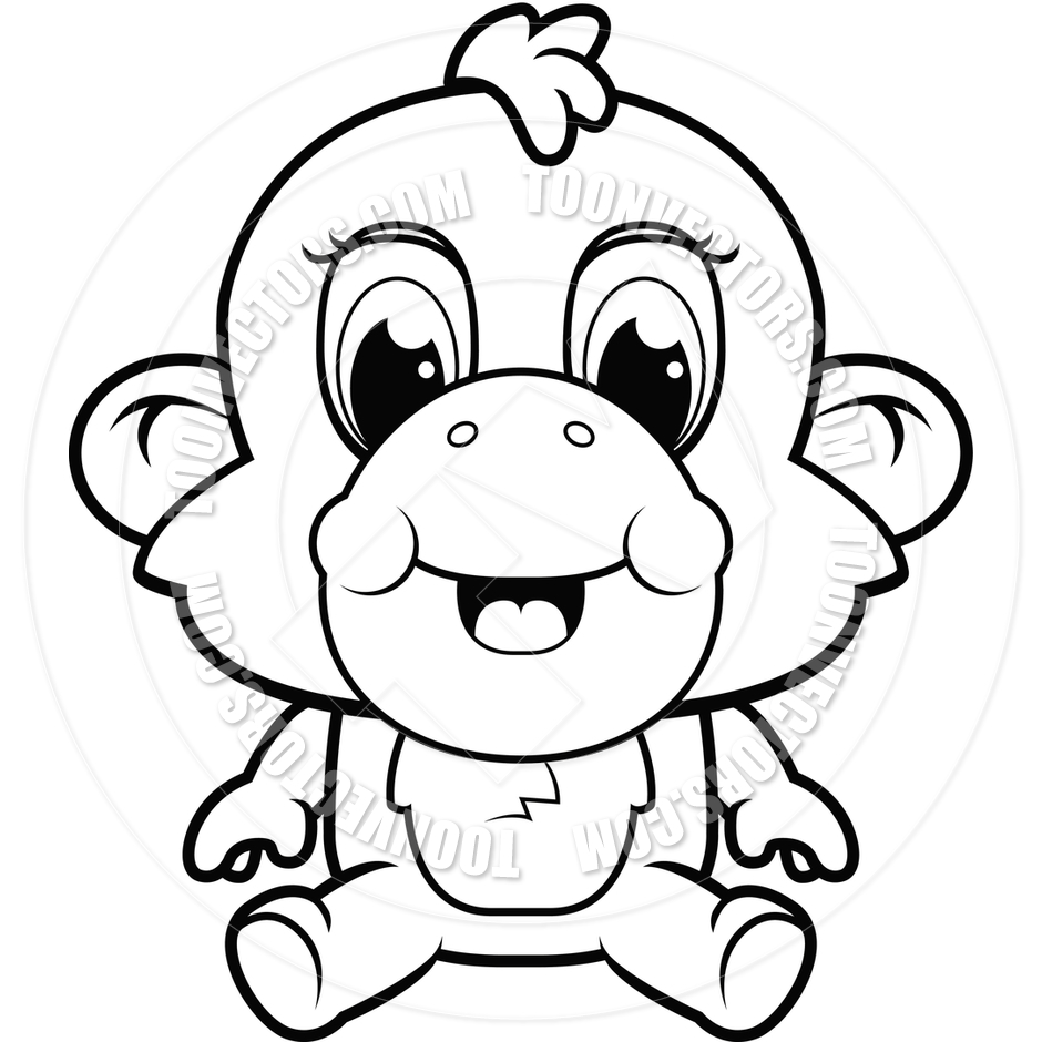 Line Drawing Monkey : Monkey clip art black and white imgkid the