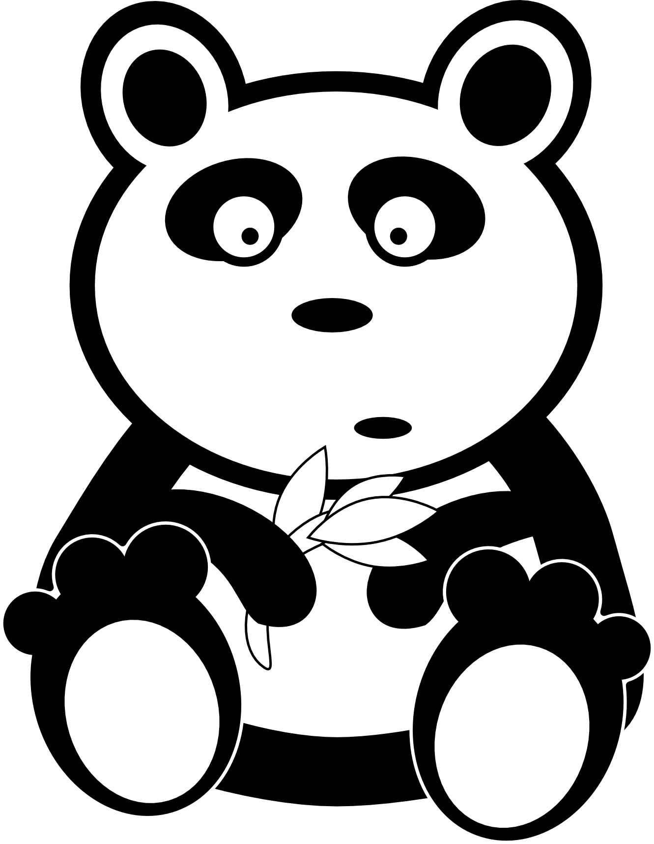 Line Art Of Animals : Cute bear clipart black and white panda free