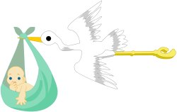Clip Art Stork Delivering Baby | Free | Download