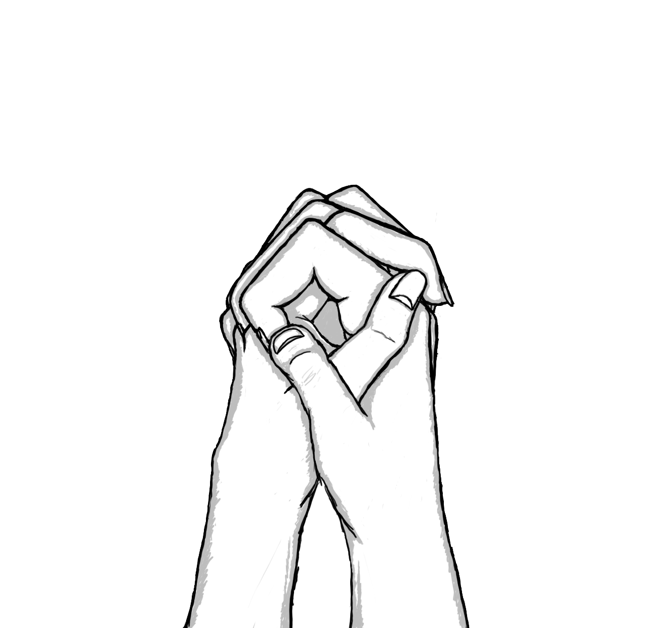 Back of hand drawing anime people holding hands