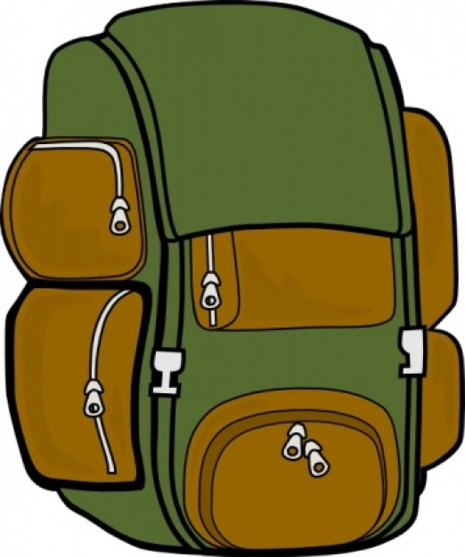 backpack green brown clip art clipart panda free clipart images rh clipartpanda com backpack outline clip art clipart backpack on hook