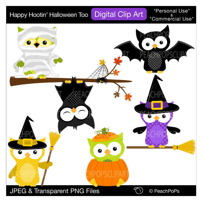 cute owls clip art digital