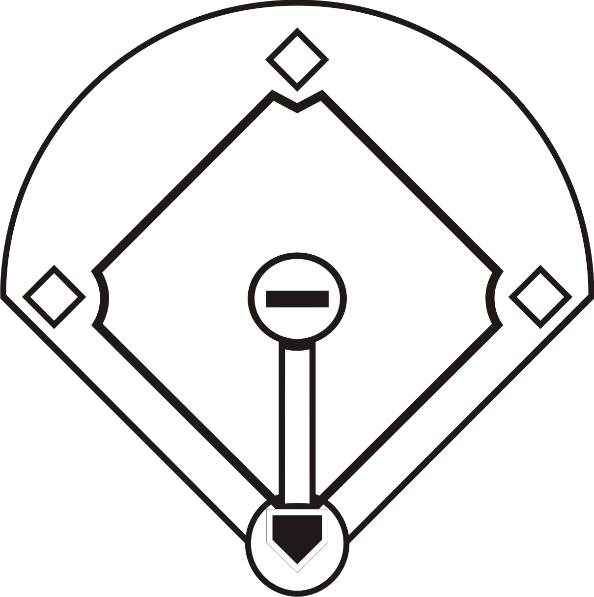 black and white baseball field clipart