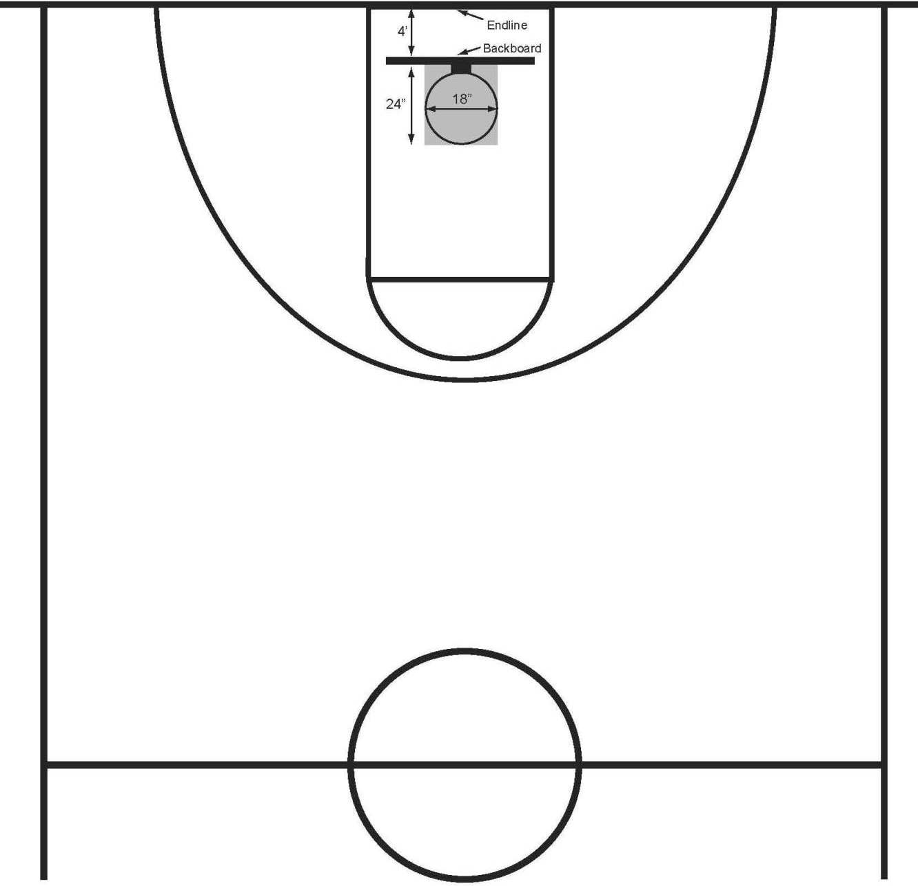 Basketball half court clipart clipart panda free for Half basketball court dimensions