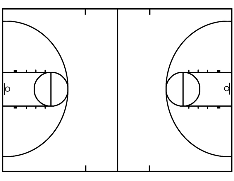 Blank basketball court play diagrams new calendar for What are the dimensions of a half court basketball court
