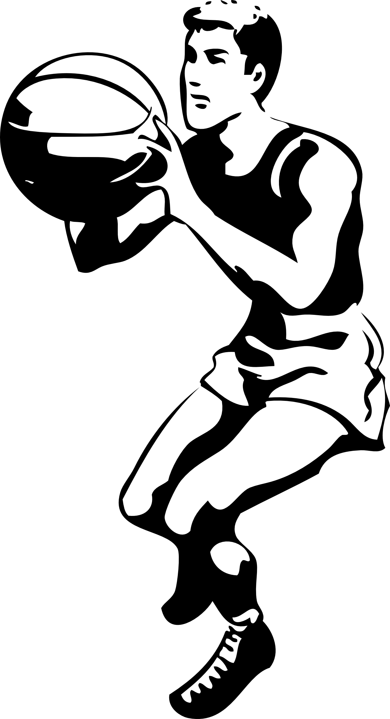 Line Art Images Free : Basketball player clipart black and white panda