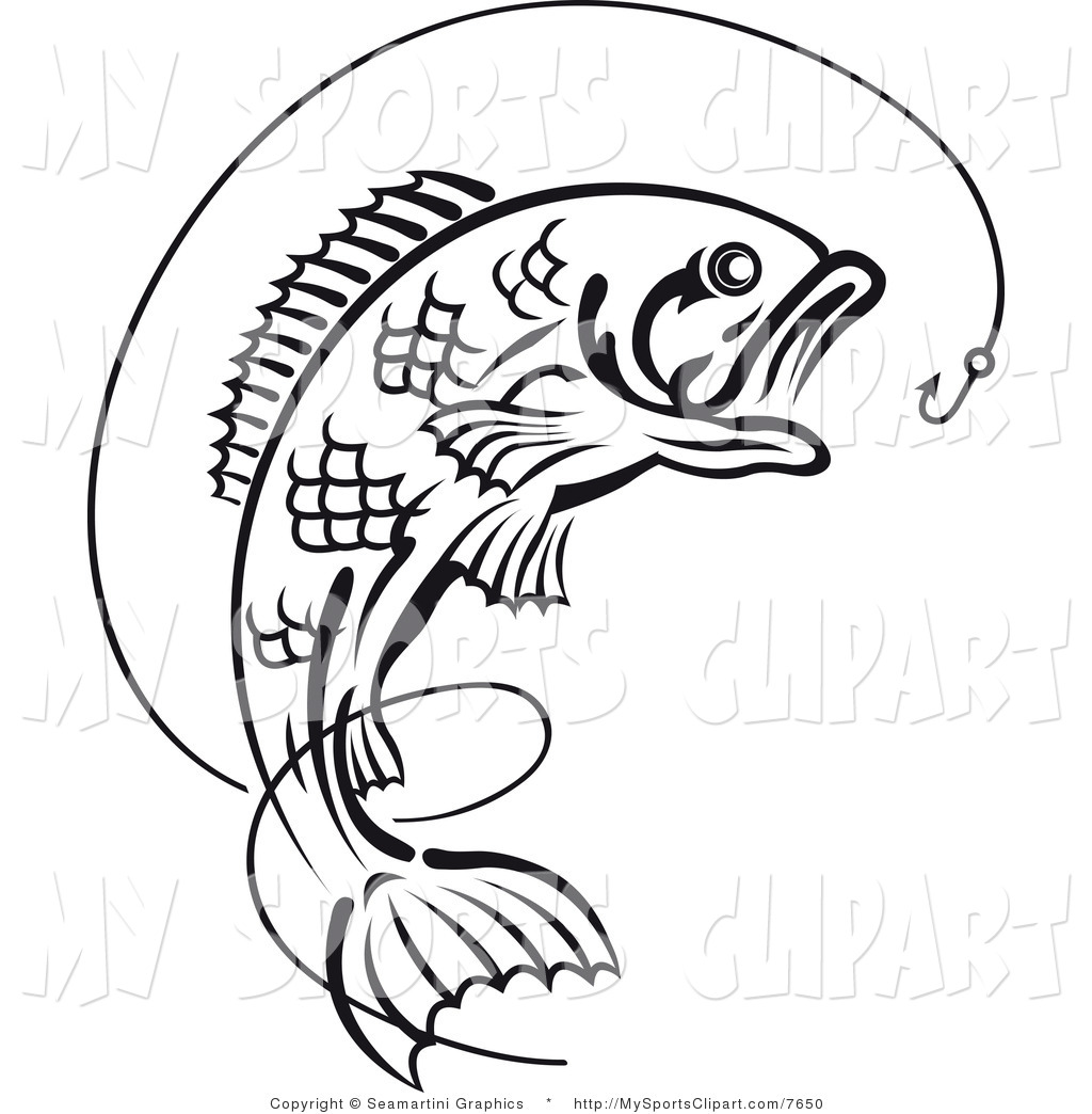 Simple Fish Line Art : Bass fish clip art black and white clipart panda free