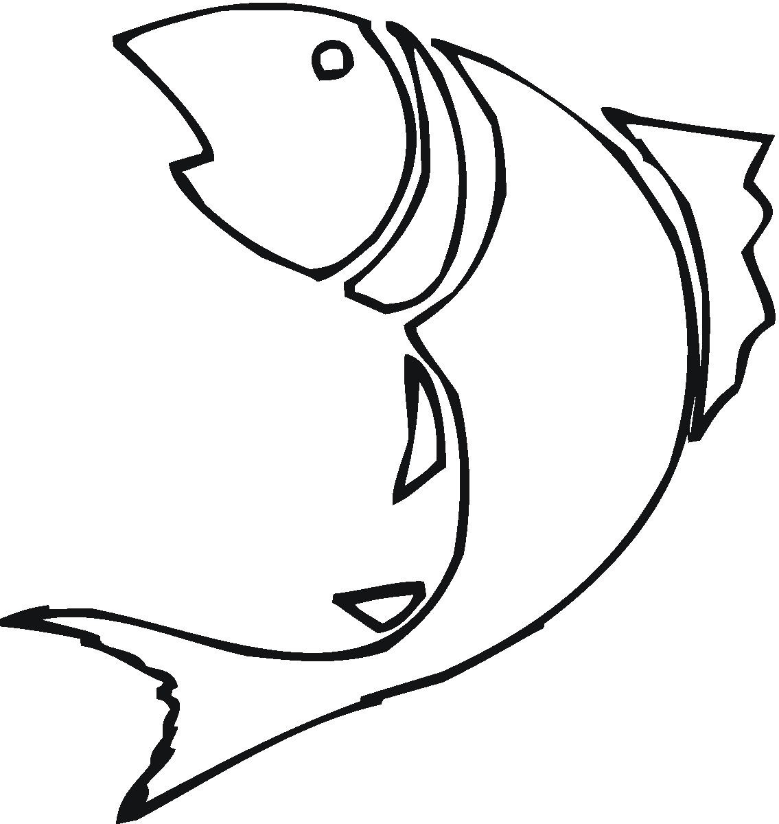 Simple Fish Line Art : Bass fish outline clip art clipart panda free