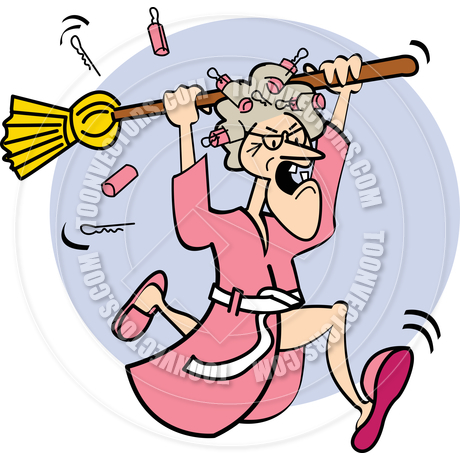 Bathrobe Clipart Cartoon Old Lady With Broom