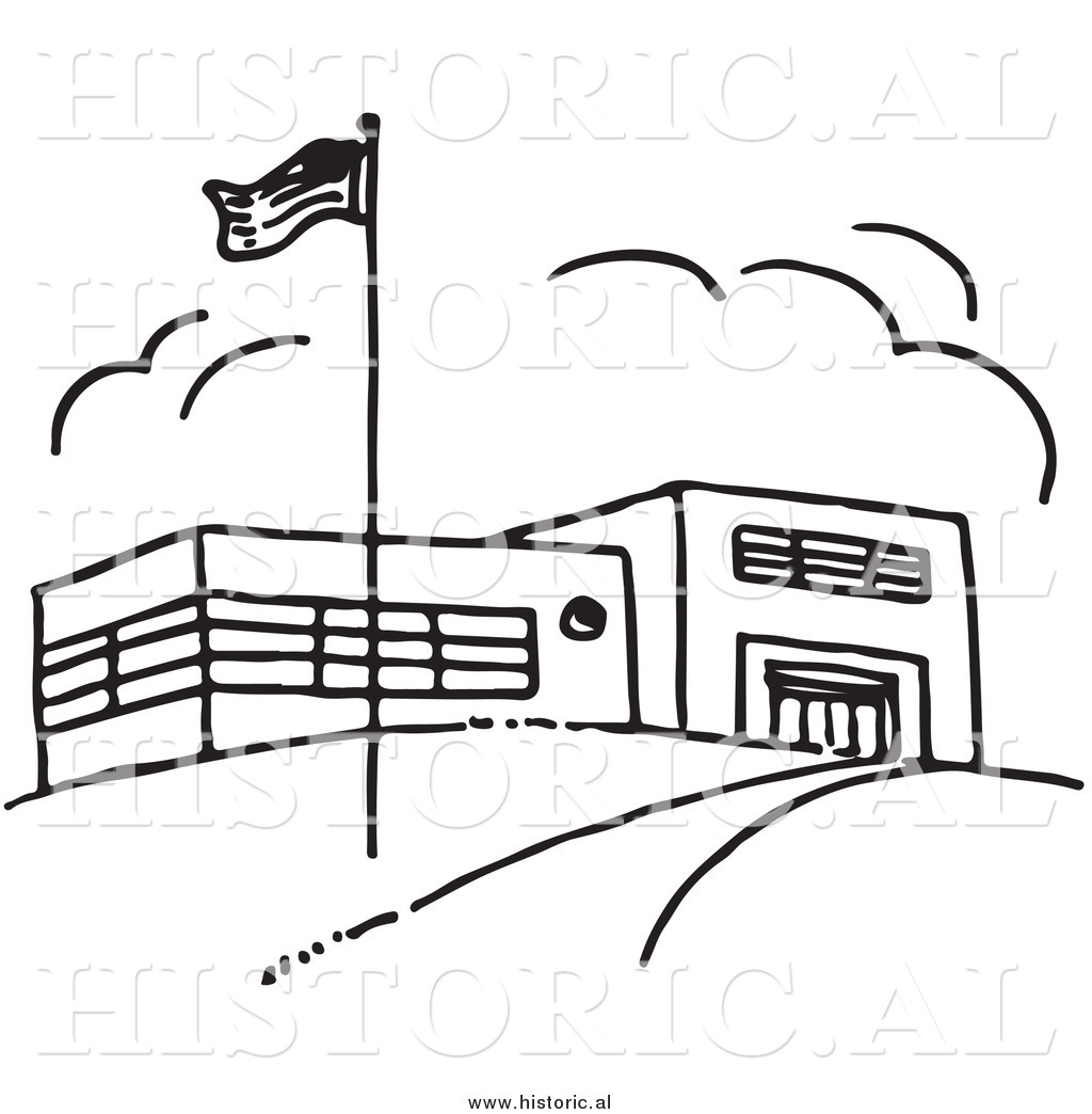 Clipart Black And White School Building Clip Art Black And