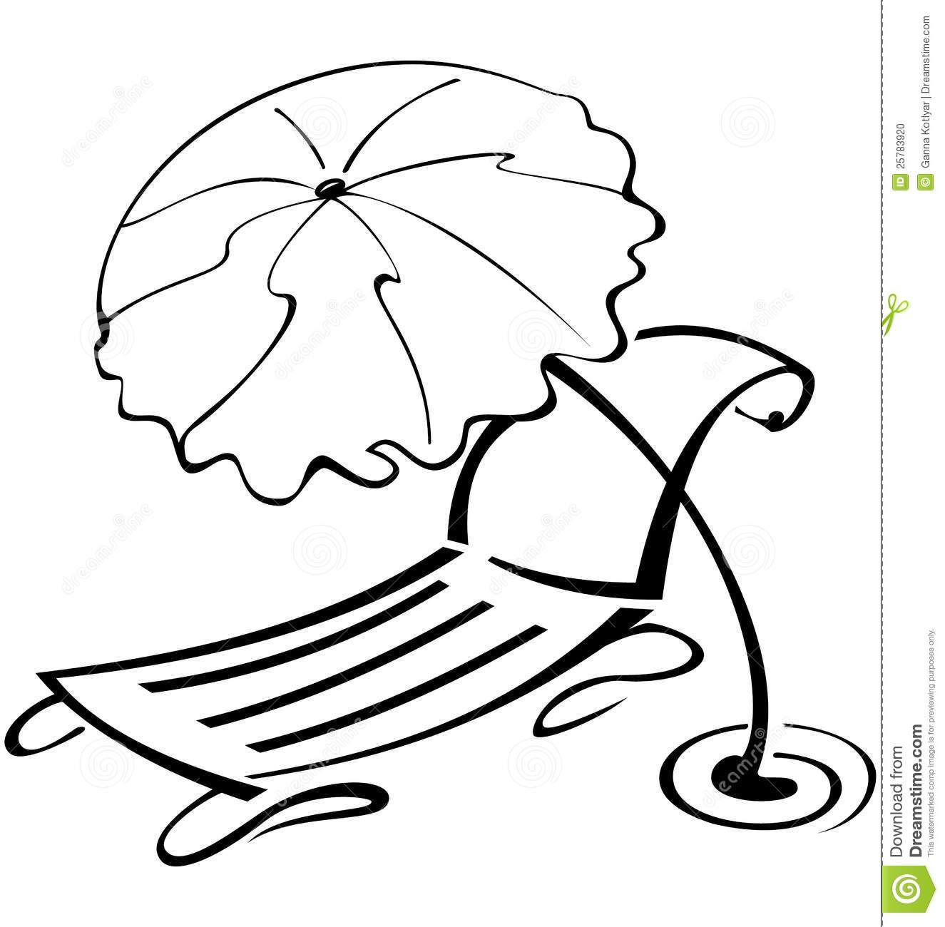 Beach chair and umbrella sketch - Beach 20umbrella 20clipart 20black 20and 20white