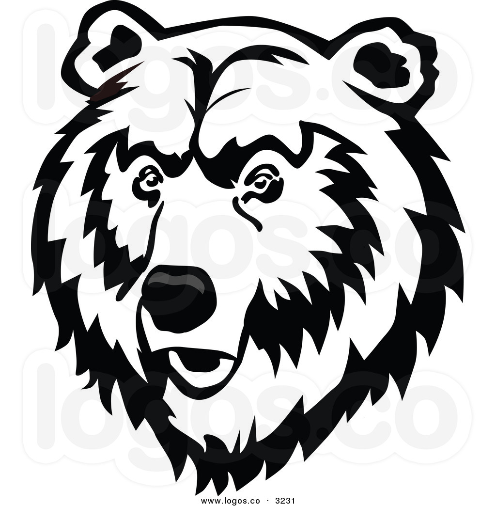 bear 20head 20clipart 20black  Grizzly Bear Face Logo