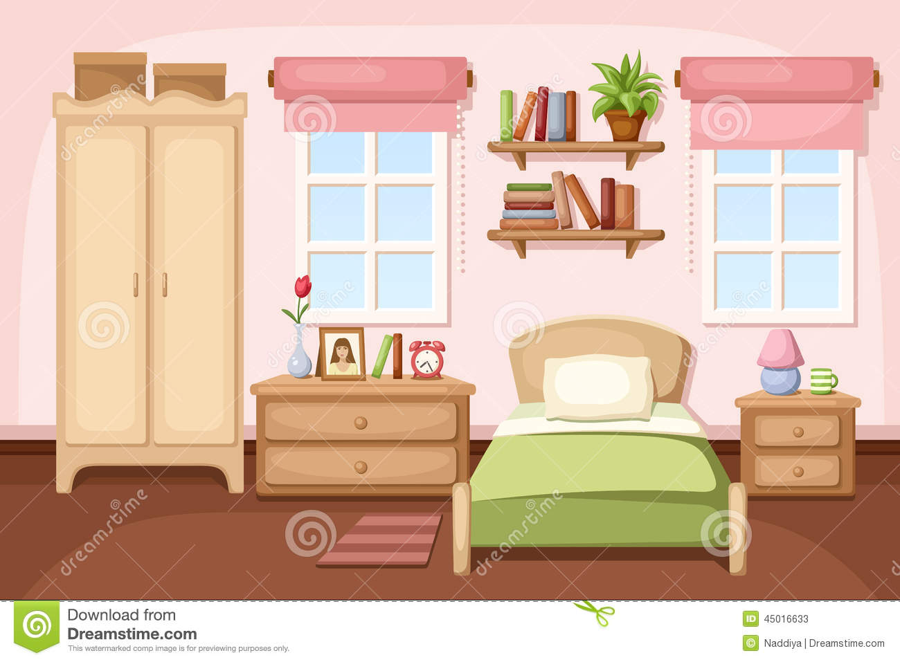Bedroom clipart clipart panda free clipart images for Cuarto ordenado animado