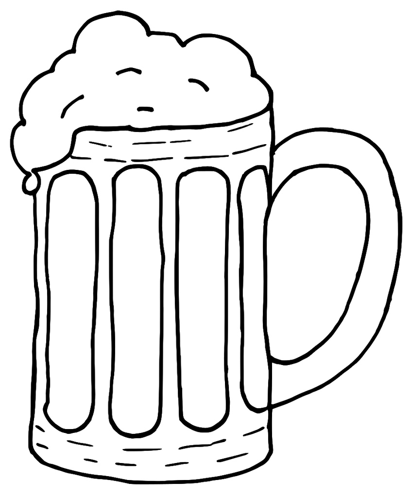 One Line Art Beer : Beer mug black and white clipart panda free images