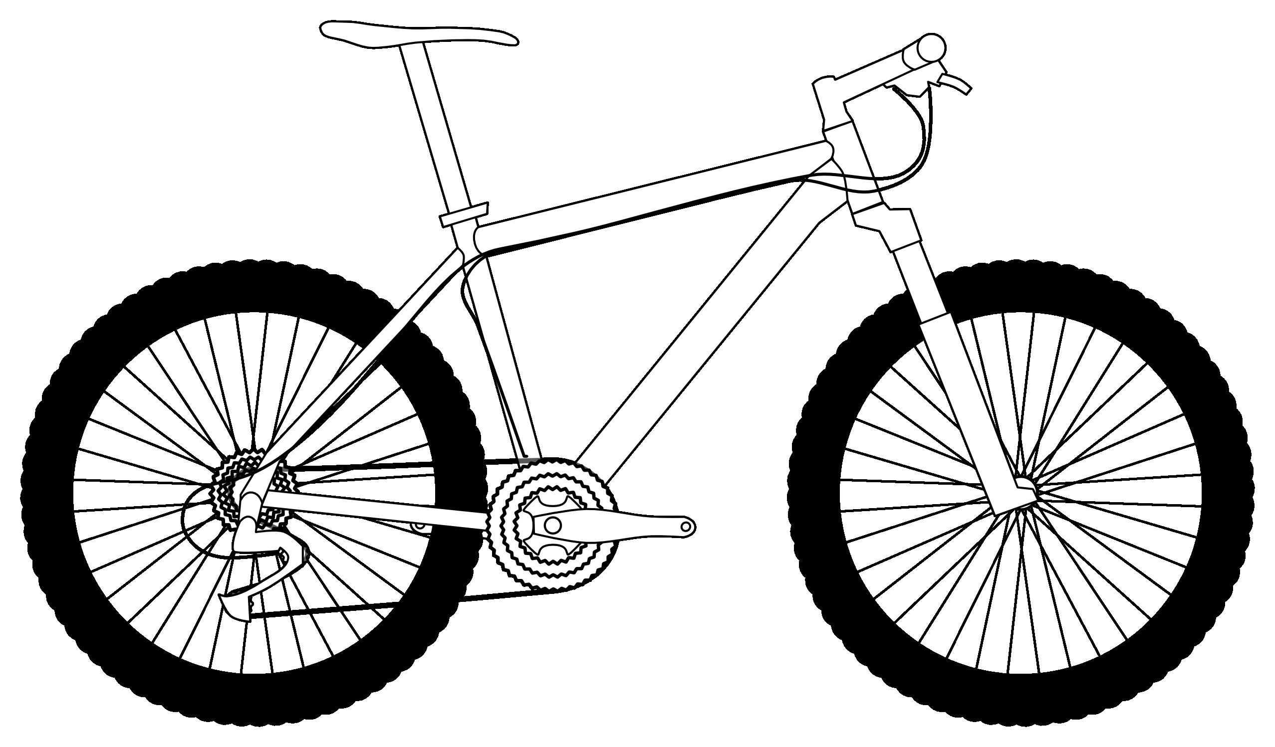 Line Drawing Bike : Bike clipart black and white panda free