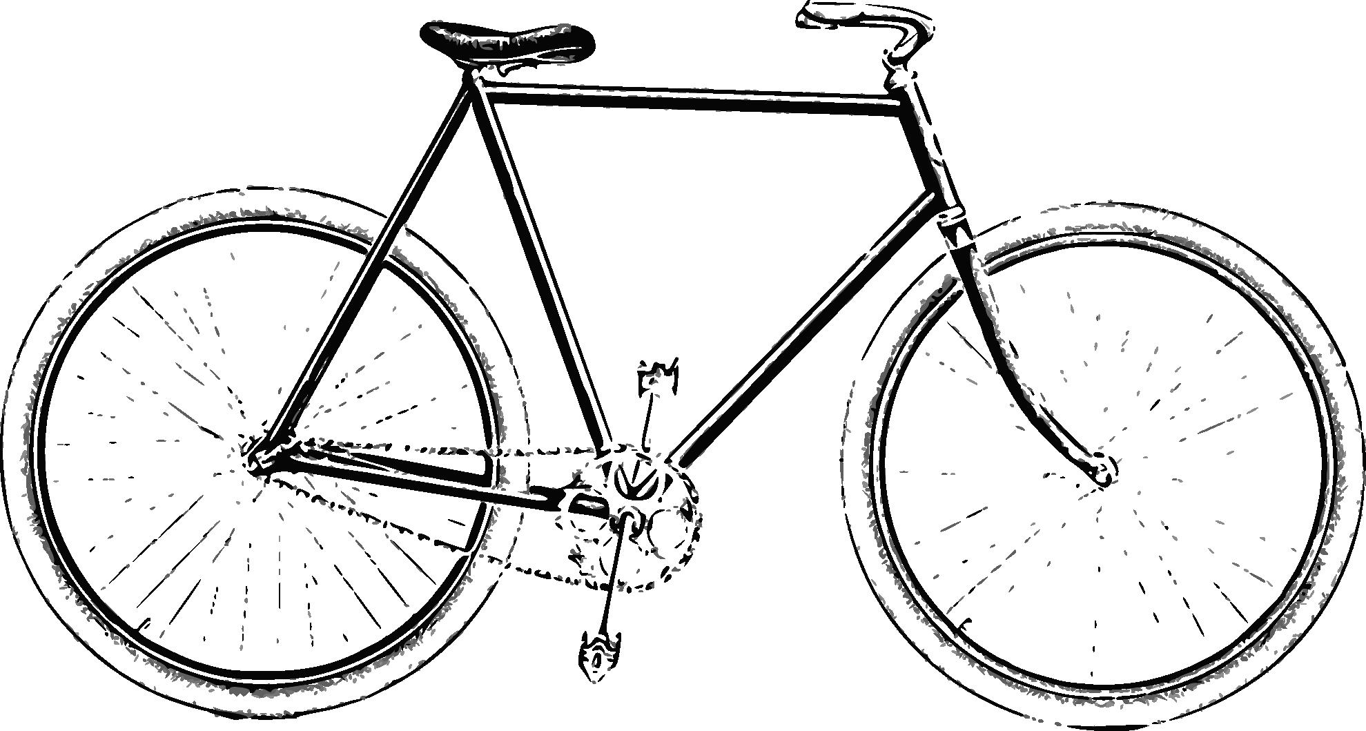 Line Drawing Bicycle : Vintage bike clip art