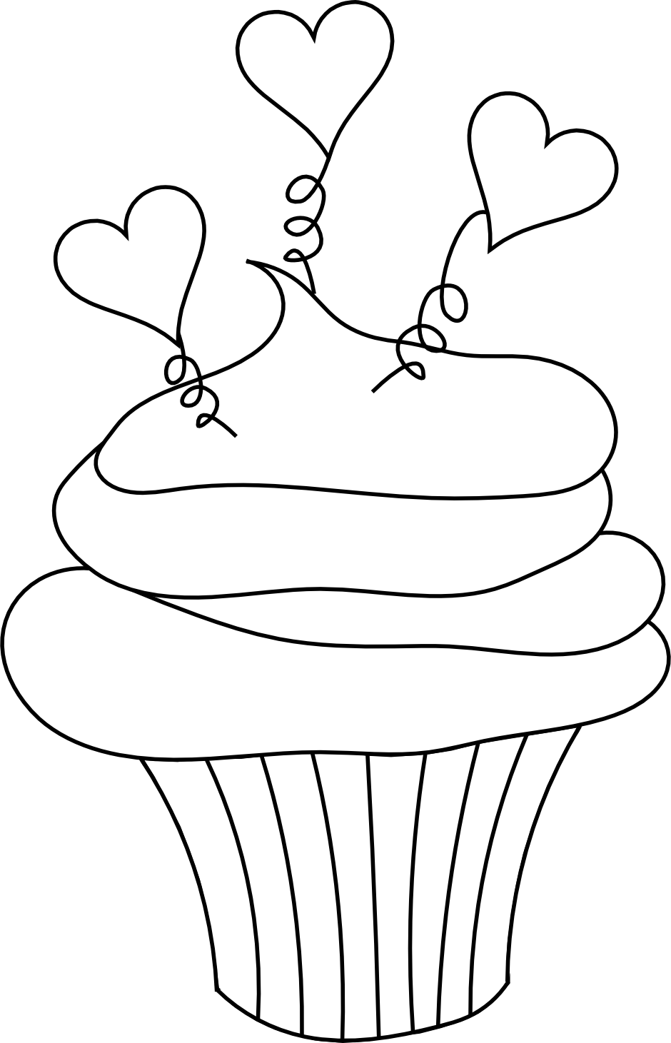 Cupcake coloring template pictures to pin on pinterest for Cupcake coloring pages printable