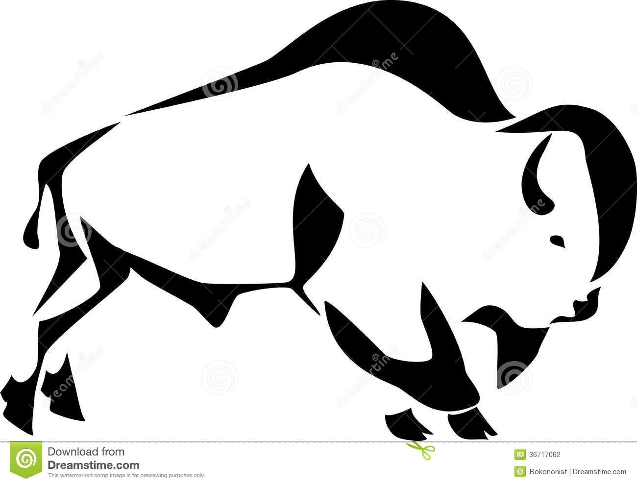 Buffalo head clipart black and white