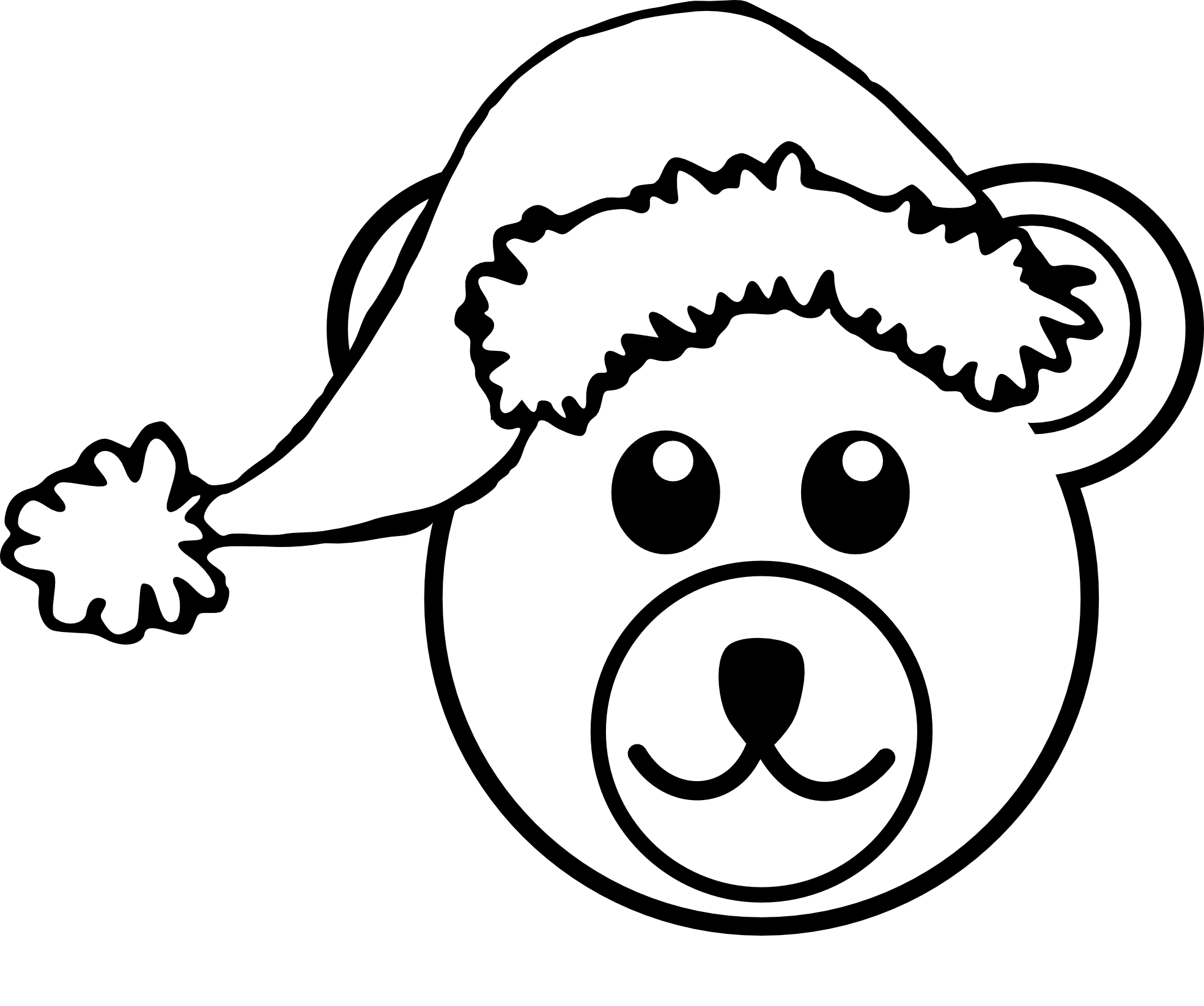 Bear head clipart black and white clipart panda free for Bear head coloring page