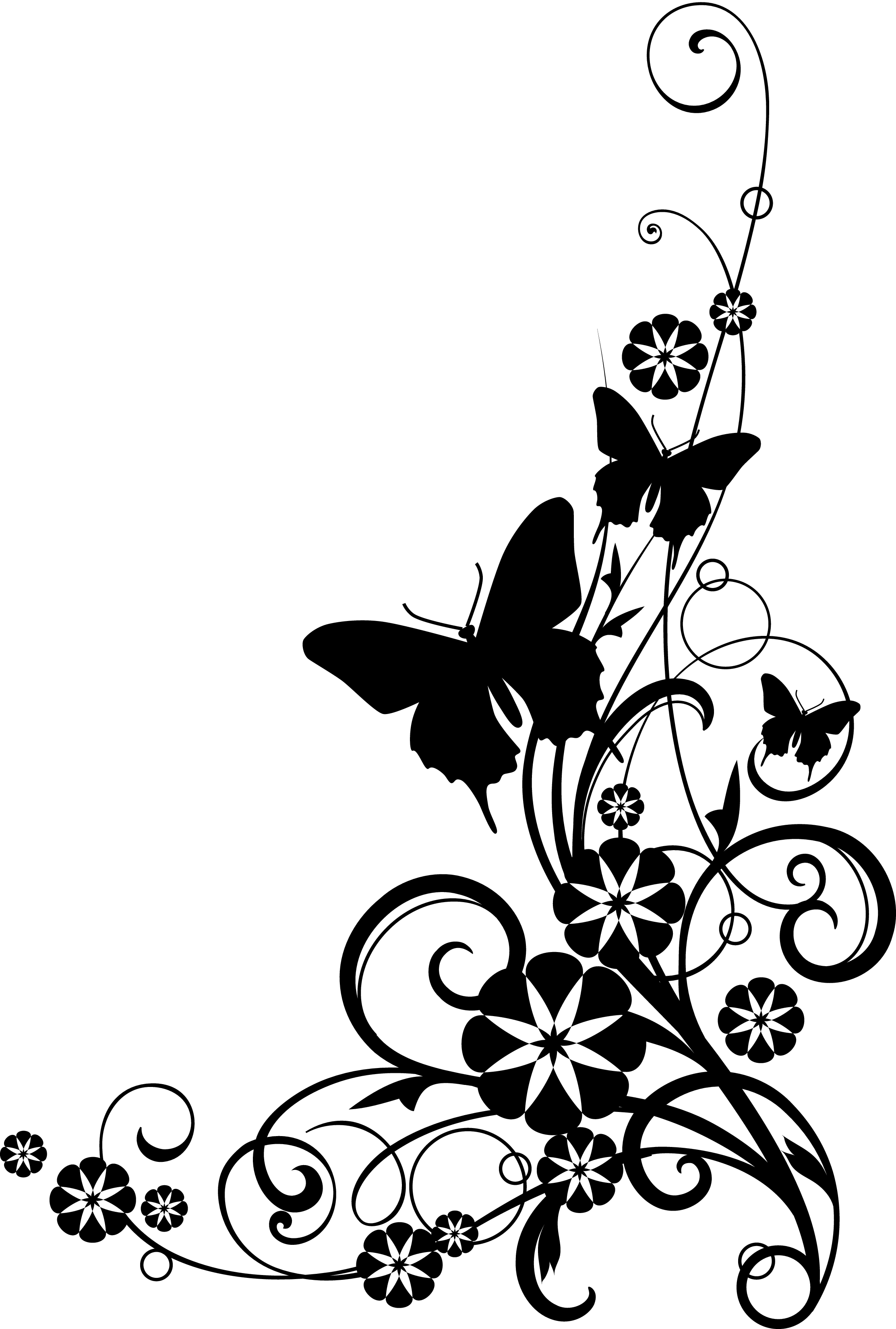 Flowers Border Clipart Black And White | Clipart Panda ...