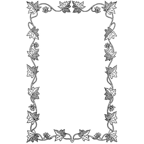 black and white leaf border clipart