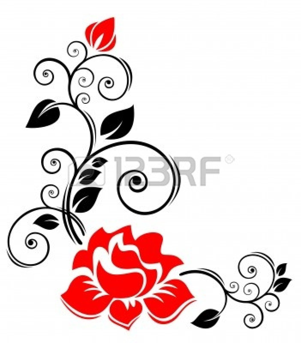 Rose Clip Art Black And White Border