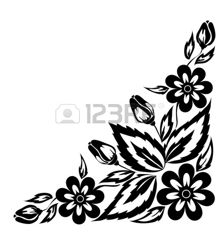 Flower Corner Border Design Black Flower Corner Border