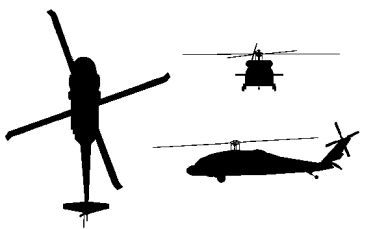 Blackhawk Helicopter Silhouette on chopper