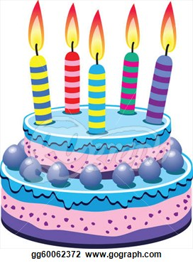 Birthday Cake With Five Candles Clipart