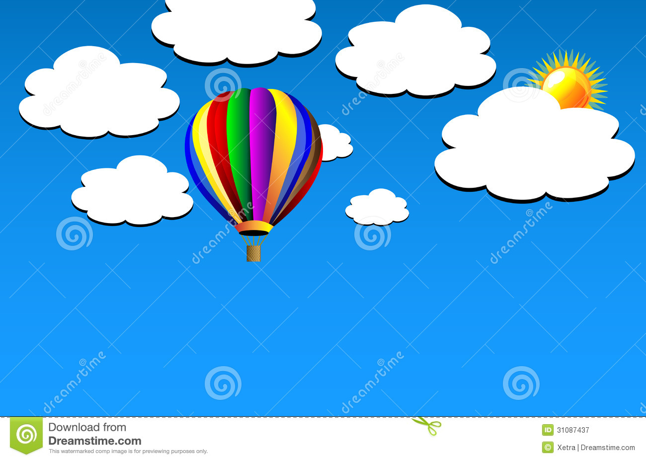 Free Clip Art Hot Air Balloon Sunset