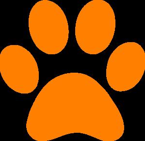 orange bengal paw print