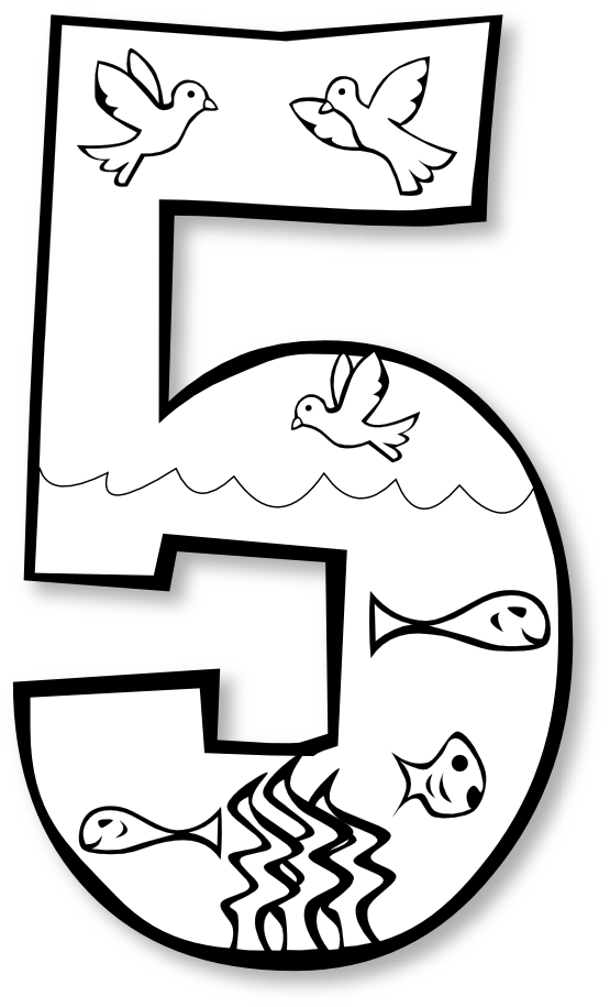 Numbers clipart for kids black and white clipart panda for Number 5 coloring page