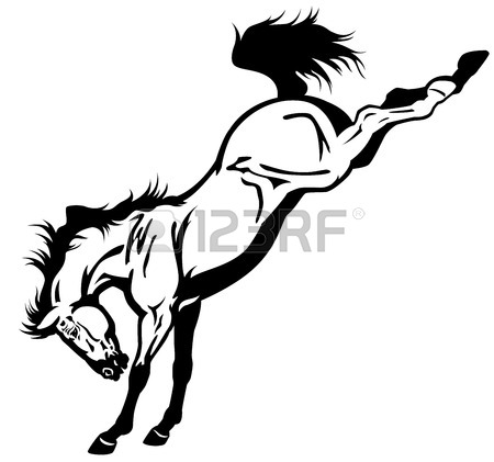 Bucking Horse Clip Art Black And White
