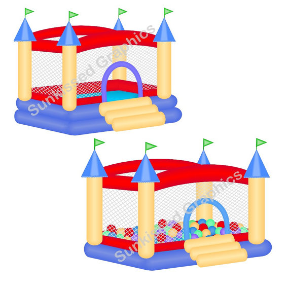 Red Blue Bouncy Bounce House | Clipart Panda - Free Clipart Images
