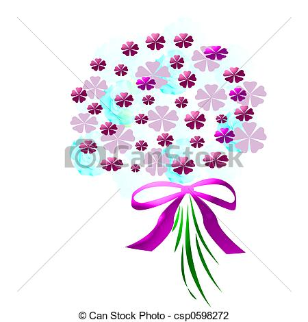 Purple Flowers Bouquet Clipart